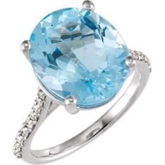 71722 / 14kt White / Complete with Stone / 14.00X12.00 mm / Sky Blue Topaz / Polished / Gen Sky Blue Topaz and 1/4CTW Dia Ring