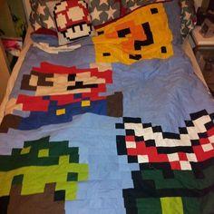 Patchwork Decke und Kissen aus unzähligen kleinen Quadraten :)