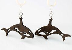 Orca Killer Whales Wood Earrings - Aretes Orcas asesinas en madera
