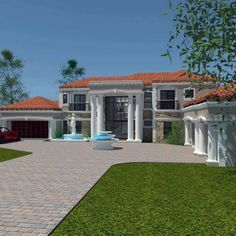 This luxury 5 bedroom house plan with photos has 5 garages. Browse double storey house designs and home designs in Limpopo. House Plans For Sale, Unique House Plans, Free House Plans, House Plans With Photos, Modern House Plans, House Plan Maker, Double Storey House Plans, House Plans South Africa, 5 Bedroom House Plans
