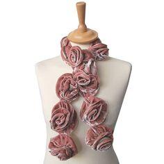 dusty pink or grey silk velvet roses scarf