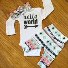 Baby girl going home set - pink mint charcoal theme - hello world, baby shower gift, coming home outfit new baby going home outfit #kidoutfits