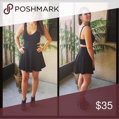 Little Black Dress LBD with an open back, adjustable straps with a built in bra. Only worn once! Dresses