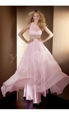 Elegant A-Line One Shoulder Sweetheart Pink Tencel Long Prom Dresseses with Beaded.US $269.99