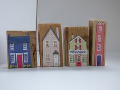 Home decoration ~ Hand painted wooden house ~ mini handmade building ~ house warming gift, birthday friend or family, lovers of architecture