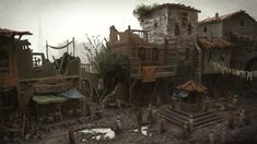 View an image titled 'Street in Poor District Art' in our Assassin's Creed: Revelations art gallery featuring official character designs, concept art, and promo pictures. Environment Concept, Environment Design, Concept Art World, Medieval Town, Fantasy Landscape, Environmental Art, Fantasy World, Art Google, Character Art