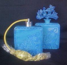 Ingrid Glass Line Czech Art Deco Lapis Opaque Glass Perfume Bottle SET 30s