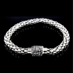 "Absolute Pave Teardrop Platinum Plated 6.5"" Link Bracelet Mother's Day Gift 129S #Absolute #Link"