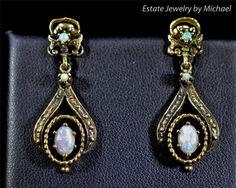 $1,499 Antique 14kYellow  Gold Dangle 1.08ctw Genuine Black Opal Earrings 6.7g #DropDangle #opalsaustralia