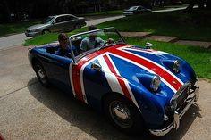 "The Little Austin Healey ""Bugeye/Frogeye"" Sprite Austin Healey Sprite, Mg Midget, British Things, British Sports Cars, First Car, Car Humor, Great Memories, Union Jack, Sport Cars"