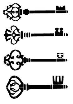 """8.3/11.7"""" vintage keys de la plantilla. A4."""