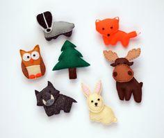 Felt Forest Animals  Fridge Magnets , part1 - Badger , Fox , Hare , Moose , Boar , Owl , Fir-tree   Baby Toy