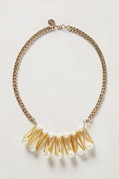 Anthropologie Pearl Frond Necklace, Gold Tone Faux Pearls Bib By Daydream Nation #DaydreamNation #Bib