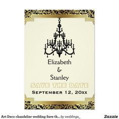 Art Deco chandelier wedding Save the Date 3.5x5 Paper Invitation Card