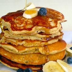 Whole-Grain Banana Blueberry Pancakes with Walnuts