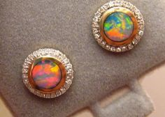 Stunning Red Multi Colors Opal & Diamond Stud Earrings 14k Gold