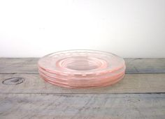 Pink Depression Glass Plates Set of Four by 22BayRoad on Etsy, $16.00
