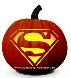 Superman Pumpkin Carving Stencil  Download free printable stencil: http://celebrating-halloween.com/wp-content/uploads/2013/07/superman-pump...