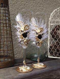 Gran Gatsby gafas de boda champagne con plumas de por PureBeautyArt