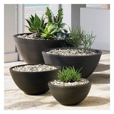 "West Elm Delano Planter, Caviar Black, Large, 34"" ($299) ❤ liked on Polyvore featuring home, outdoors, outdoor decor, black, lightweight planters, lightweight outdoor planters, plastic planters, west elm and outdoor garden decor"