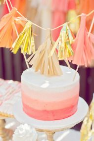 Peach & Tangerine Party / ombre cake with metallic tassel cake topper