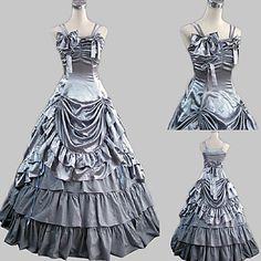 Senza maniche pavimento-lunghezza raso grigio Principessa Lolita Dress del 2016 a €88.19