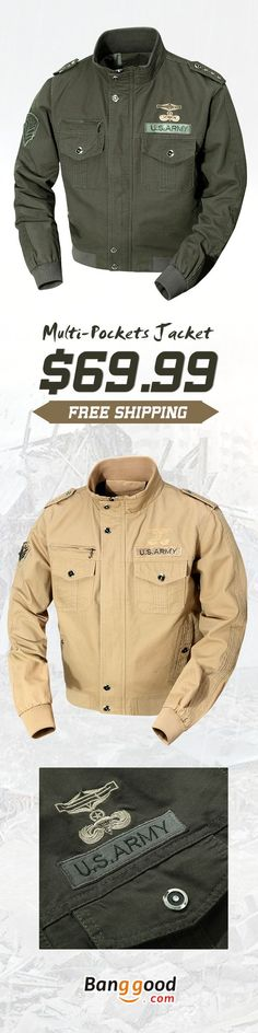 Free Shipping S-4XL 3Colors Cotton Mens Military Multi-Pockets Army Epaulet Zipper Autumn Cargo Cotton Jacket Diy Crafts Slime, Adventure Outfit, Geek Fashion, Cotton Jacket, Harley Quinn, Mens Fitness, Outdoor Gear, Motorcycle Jacket, Bags