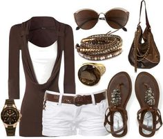 See more Dark brown blouse, sunglasses, white mini skirt, sandals and other accessories for ladies