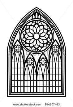 Window For Churches And Monasteries Architecture Cathedral Medieval Gothic Vector Illustration