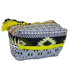 3cac8fdeede Loaf shaped beaded tapestry makeup bag folds flat when not in use. Black,  white