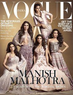 Magazine Cover: Bollywood Divas celebrating 25 years of Manish Malhotra VOGUE India December 2015.