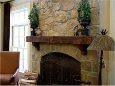 I like a natural stone or brick fireplace with a mantle - perfect