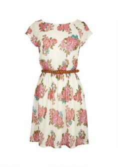 Cap-sleeve allover floral print and embroidered lace dress. Keyhole closure on back. Adjustable/removable belt and elasticized waist for comfortable fit. Fully lined.