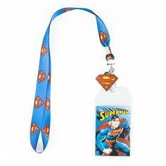 DC COMICS SUPERMAN  LANYARD KEYCHAIN ID HOLDER WITH CHARM #SUPERMAN