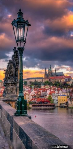 Sunset over Prague castle from Charles bridge, Czechia #Prague #Czechia #travel - it's the Czech Republic thx.