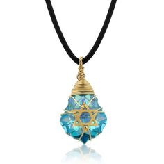Crystal and Gold Filled Postmodern Star of David Necklace (Blue), Jewish Jewelry   Judaica Web Store
