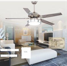 48inch chandelier fan lights LED chandelier fan modern minimalist dining room living room fan light chandelier remote control
