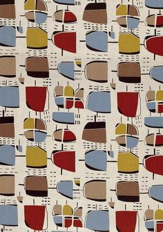 1950s textile design by HENRY MOORE - probably produced by Zika Ascher. See more on Kathy Kavan's blog