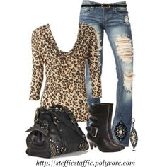 """Leopard Top, Studded Bag & Ripped Denim"" by steffiestaffie on Polyvore"