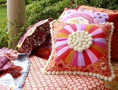 What a dreamy nap space! Love the pompom flower center.