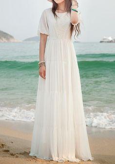 White Lace Side Pull Round Neck High Waisted Bohemian Elegant Maxi Dress