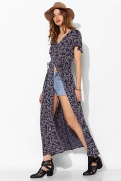 Band Of Gypsies Boho-Print Maxi Shirt