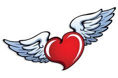 Heart with Angel Wings Angel Wings Png, Angel Wings Tattoo On Back, Angel Wings Drawing, Wing Tattoos On Back, Beautiful Angel Tattoos, Dagger Drawing, World Emoji Day, Glitter Wine Glasses, Wings Logo
