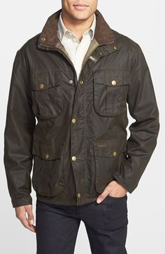 Barbour 'New Utility' Regular Fit Waxed Cotton Field Jacket available at #Nordstrom