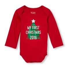 Unisex Baby Long Sleeve 'My First Christmas 2016' Little Talker Bodysuit