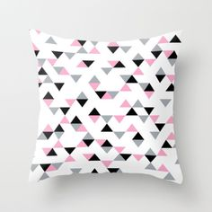 #triangles #pink #black #grey #white #geometric #pillow #case #projectm