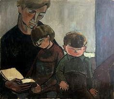 Tulla Blomberg Ranslet Portrait of Arne Pia and Paul Oil on Canvas