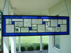Stained Glass Panel Deep Blue Window Transom or Sidelight on Etsy, $97.00
