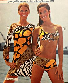 Sexy, colorful, groovy bathing suits and coverup from the Sears 1970 Spring / Summer catalog.