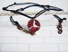 Pomegranates pendant on black waxed cotton cord . by agatsjewelry, $19.00